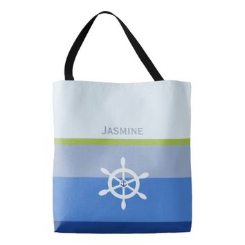 Nautical shipswheel anchor color block personalize tote bag