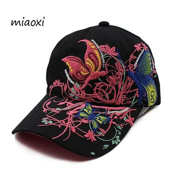 miaoxi New Women Embroidery Floral Casual Baseball Cap Female Hat Beauty Summer Comfortable Sun Hats Adjustable Adult Snapback