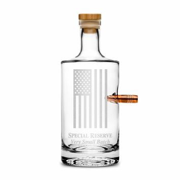 Premium .50 Cal Bullet Jersey Bottle, American Flag, 750mL Deep Etched