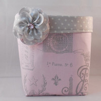 Pink and Gray Paris Themed Fabric Basket With Detachable Fabric Flower Pin For Storage Or Gift Giving