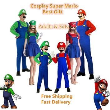 Super Mario party nes switch Adlut kids  Luigi Brothers Unisex Cosplay Costume Hats Mustache Funny Clothing Fancy Dress Jumpsuits Rompers AT_80_8