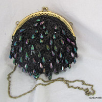 Black Irridescent Beaded Round Evening Bag
