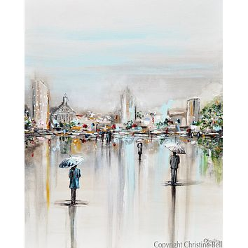"""""""A Moment in Time"""" ORIGINAL Art Abstract Painting Cityscape Horizon Modern Figurative Umbrellas 24x30"""""""