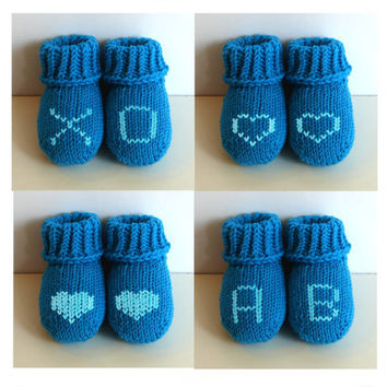 Blue baby socks, pure soft merino wool, handknit baby booties, newborn, 3-6 month, 6-12 month, choose letters