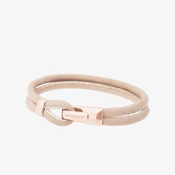 Rose Gold-Tone Hook Leather Bracelet | Michael Kors
