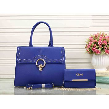 Chloe Popular Women Simple Leather Crossbody Shoulder Bag Satchel Handbag Two Piece Blue I-XS-PJ-BB