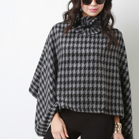 Houndstooth Knit Turtleneck Poncho