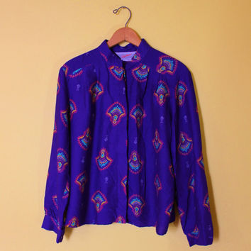80s Vintage Purple Shirt Women Paisley Blouse Retro Long Sleeved Top Size XL Straight Collar