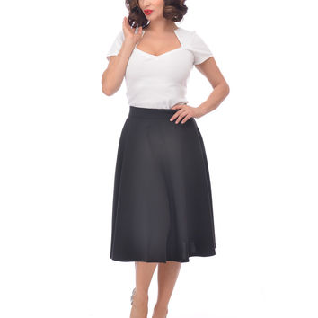 Steady Clothing High Waist Pin-up Office Lady Navy Swing Circle Skirt