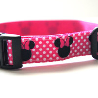 Pink Minnie Mouse Dog Collar Adjustable Sizes (M, L, XL)