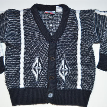 80s Windsor Classic Black White Cable Knit Toddler Cardigan Sweater 5