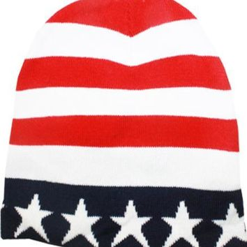 USA Patriotic American Flag Beanie Hat - CASE OF 72