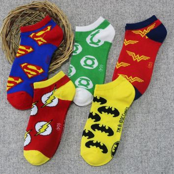 5pairs MARVEL DC Sock Hero IronMAN BatMan SuperMan Green Lantern SpiderMan Flash Captain America Avengers Thor Hulk Wonder Woman