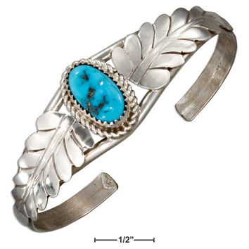 STERLING SILVER OVAL STABILIZED TURQUOISE STONE CUFF BRACELET WITH SILVER LEAVES