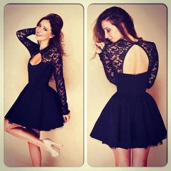 New year sexy short dress Sexy Women Floral Long Sleeve Lace Backless Evening Party Mini Dress