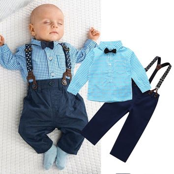 2 Piece Baby Boys Outfit - Pants, Shirt, Suspenders & Bowtie