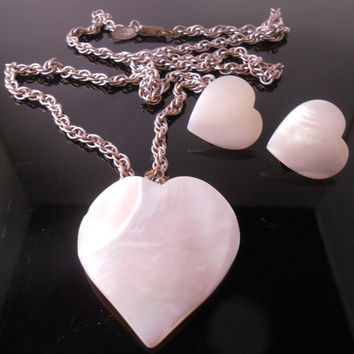 Miriam Haskell Heart Mother Of Pearl Necklace/Pendant & Clip Earrings