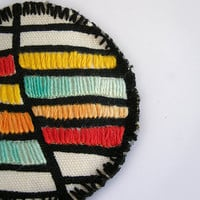 Fabric brooch color block jewelry embroidery pattern in yellow, orange, turquoise
