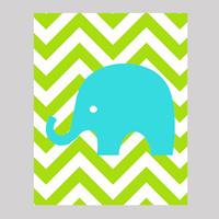 Aqua Elephant on Lime Green Chevron, Modern Baby Room, CUSTOMIZE YOUR COLORS 8x10 Prints, nursery decor nursery print art baby room decor