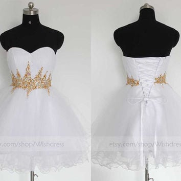 Custom Made Gold Embellishment Bicolor Tulle Short Prom Dress/ Cocktail Dress/ Party Dress/ Homecoming Dress /Sweet 16 Dress By Wishdress