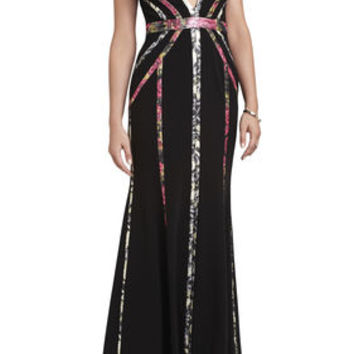 BCBG Hilaria V-Neck Bias-Cut Gown