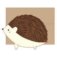 Hedgehog Die Cut Flat Notecard