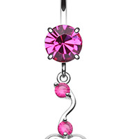 Dainty Dangled Heart Belly Button Ring