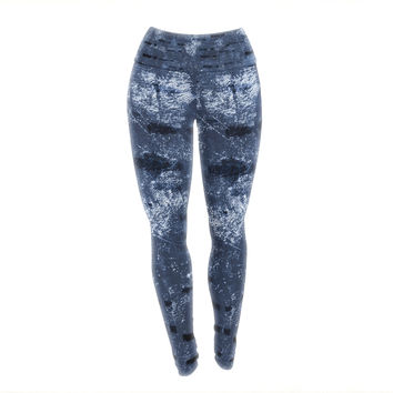 "Iris Lehnhardt ""Tex Mix Blue"" Abstract Blue Yoga Leggings"