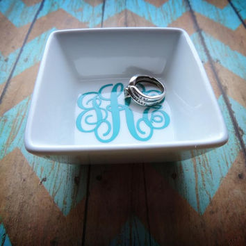 Monogram Ring Dish, Custom Jewelry Dish, Monogram Jewelry Holder, FREE GIFT WRAPPING