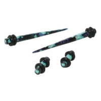 Acrylic Black And Mint Floral Micro Taper And Plug 4 Pack