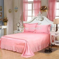 Luxury Smooth Soft Silky Lustre Home Hotel Satin Twin/Full/Queen/King Size Flat Sheet Bed Cover Solid Color Sweet Light Pink