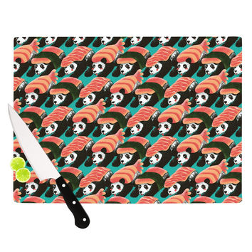 "Tobe Fonseca ""Sushi Panda"" Orange Blue Cutting Board"