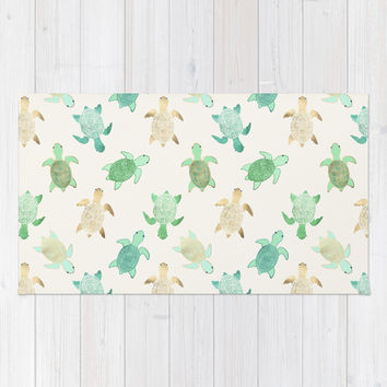 Gilded Jade & Mint Turtles Rug by Tangerine-Tane | Society6