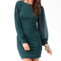 Sheer Sleeve Bodycon Dress
