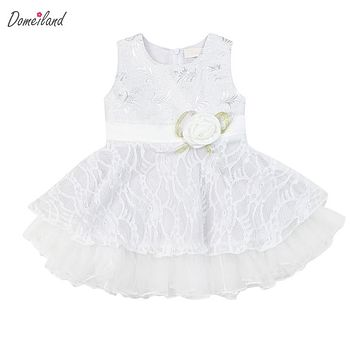 2017 summer brand domeiland Toddler clothing pink baby girls sleeveless party princes first birthday bow infant dress clothes