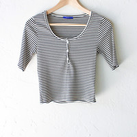 Striped Henley Crop Top