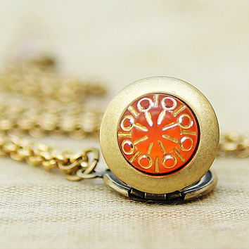 Tangerine Splash  Teeny Tiny Mini Locket by HeartworksByLori