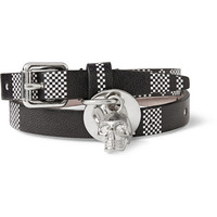 Alexander McQueen - Check-Patterned Leather Wrap Bracelet With Skull | MR PORTER