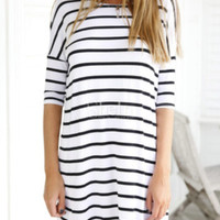 Stripe Half Sleeve Dress Shirt