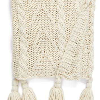 Nordstrom at Home Cable Knit Tassel Throw Blanket | Nordstrom