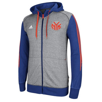 adidas New York Knicks Pre Game Full Zip Hooded Jacket - Gray/Royal Blue