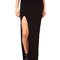 Black Side Slit Maxi Pencil Skirt