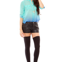 Foreign Exchange :: WOMEN :: TOPS :: SHIRTS & BLOUSES :: MINT OMBRE DIP BUTTON UP TOP