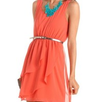 Belted Tiered Chiffon Tank Dress: Charlotte Russe