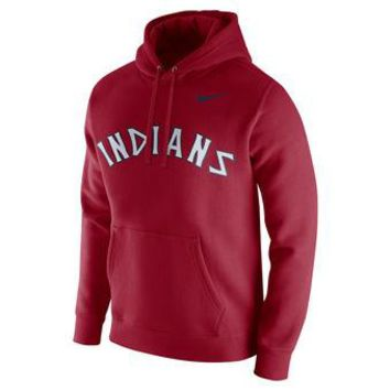 Cleveland Indians Nike MLB Red Throwback Ultra Fleece Pullover Hoodie