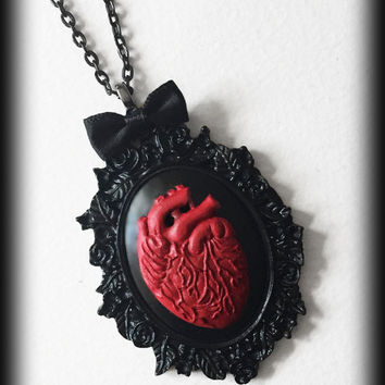 Gothic Steampunk Cameo Necklace - Red Anatomical Heart - Victorian