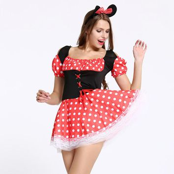 Sexy Christmas Halloween Minnie Mouse Women Xmas Costume Cosplay Dress Up Outfit Ear Sexy Costumes role play lingerie intimates