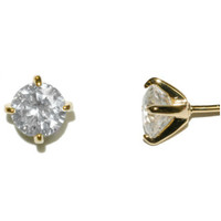 Eulee Round Cut Stud Earrings – 6mm | Cubic Zirconia | Gold