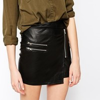 Noisy May Minda PU Wrap Mini Skirt