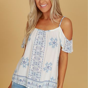 Cold Shoulder Print Tank Blue